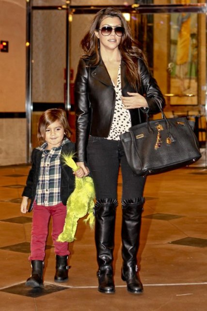 kourtney-kardashian-Son-Mason-Monsters-Inc-3D-Movie-Wearing-Valentino-Jacket-Boot-
