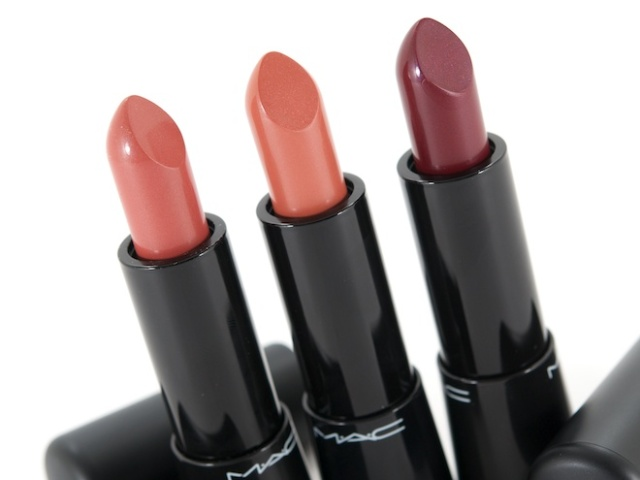 MAC Mineralize Rich Lipsticks in (L-R) Glamour Era, Posh Tone & Lush Life