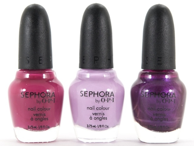 Sephora by OPI Nail Lacquers in (L-R) Berry Tale Romance, Your Wish Is My Command & Fit For Royalty