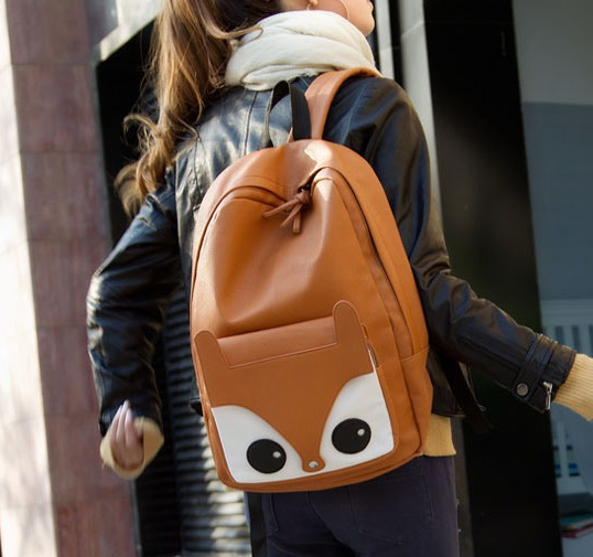 Women-s-backpack-fashion-small-fox-bag-student-bag-cartoon-casual-travel-bag-PU-tote-Free