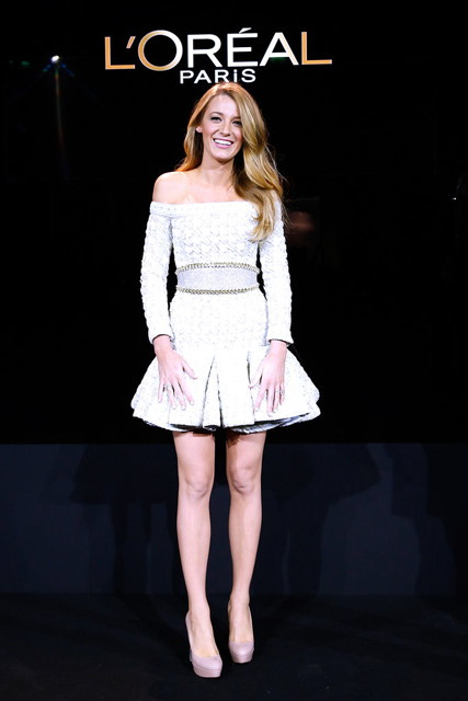 blake-lively-loreal-paris-announcement-balmain-spring-2014-dress-4