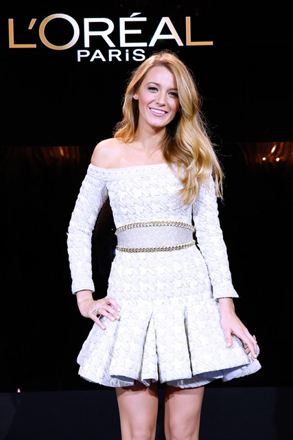blake-lively-loreal-paris-announcement-balmain-spring-2014-dress-5