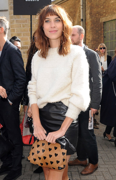 Alexa Chung with this Burberry Small Heart Pouch