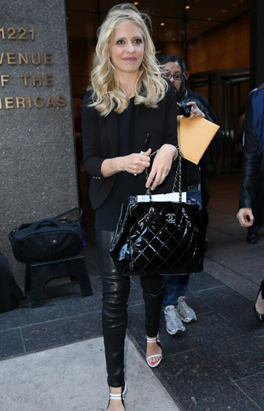 Sarah-Michelle-Gellar Chanel Patent Quilted Tote