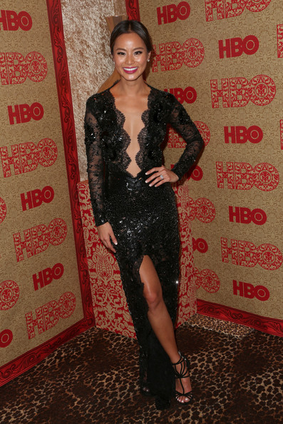 Jamie Chung Wearing Julien Macdonald – HBO's Post 2014 Golden Globe Awards Party