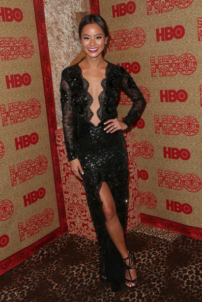 Jamie Chung Wearing Julien Macdonald – HBO's Post 2014 Golden Globe Awards Party
