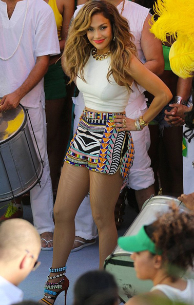 Jennifer Lopez's FIFA World Cup We Are One Video Shoot Emilio Pucci Spring 2014 Printed Shorts And Giuseppe Zanotti Coline Shell Bead Embellished Sandals