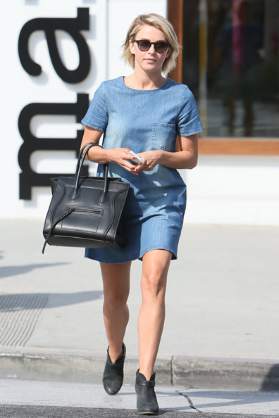 Julianne-Hough-gave-her-denim-dress-subversive-treatment-Céline-black-luggage-tote-Rag-amp-Bone-booties