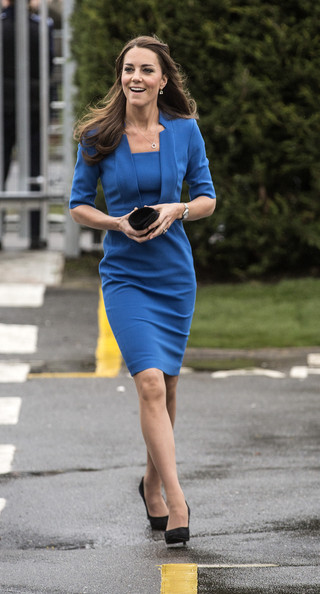Kate+Middleton+ arives for the opening of the ICAP Art Room at Northolt High School on February 14,