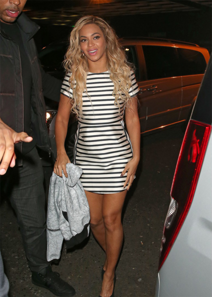 Beyonces-Arts-Club-London-Topshop-Satin-Stripe-A-Line-Dress-and-Kurt-Geiger-Anja-Black-Pumps