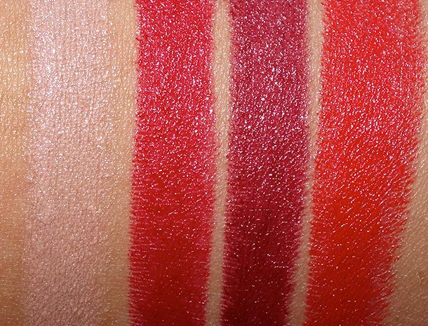 Swatches Amplified Lipsticks in Peach Beige, Ruby, Roxo and True Red