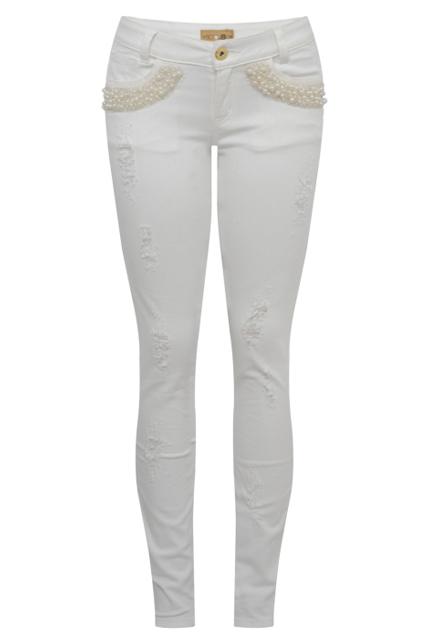 Calça branca pérolas