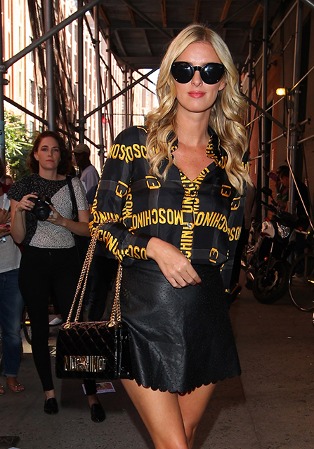 Nicky Hilton Moschino Quilted Logo Bag