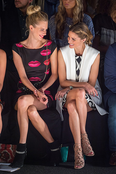 Poppy Delevingne and Olivia Palermo at the Desigual Spring 2015 runway show.