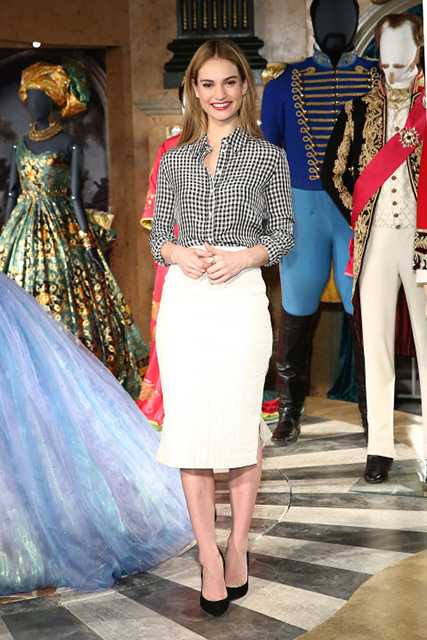 Lily James In Altuzarra at Cinderella Exhibition Photocall in London