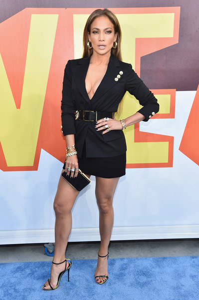 Jennifer+Lopez  Versus Versace tuxedo dress and simple Giuseppe Zanotti ankle-strap sandals.